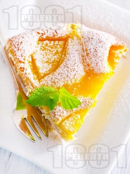 Бърз и лесен маслен кекс / сладкиш с компот от праскови и ванилия - снимка на рецептата